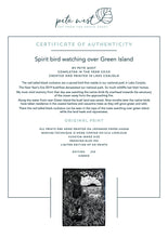 "Load image into Gallery viewer, Original Limited Edition Hand Printed Lino ""Spirit Bird watching over Green Island"""