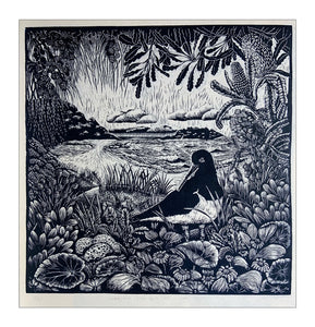 "Original Limited Edition Hand Printed Lino ""Where the Shore Birds Nest, Lake Conjola"""
