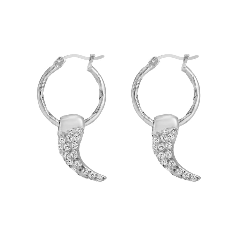 SILVER HOOP EARRING WITH WHITE SWAROVSKI DIAMOND PAVÈ CLAW
