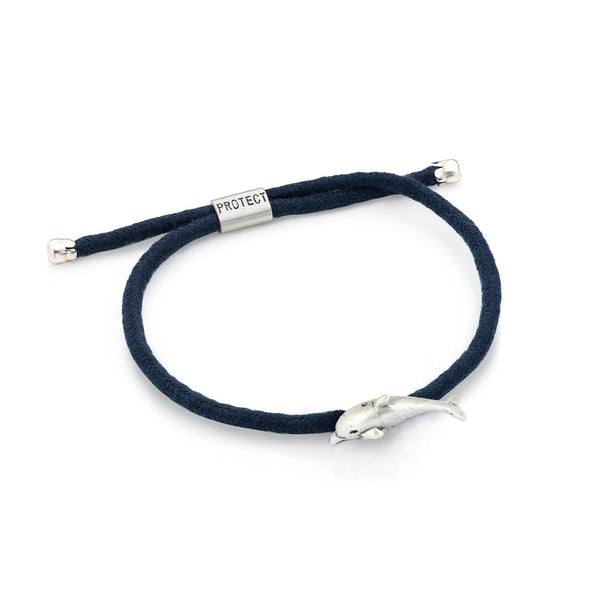 Navy Eco-Friendly Dolphin Charm Bracelet