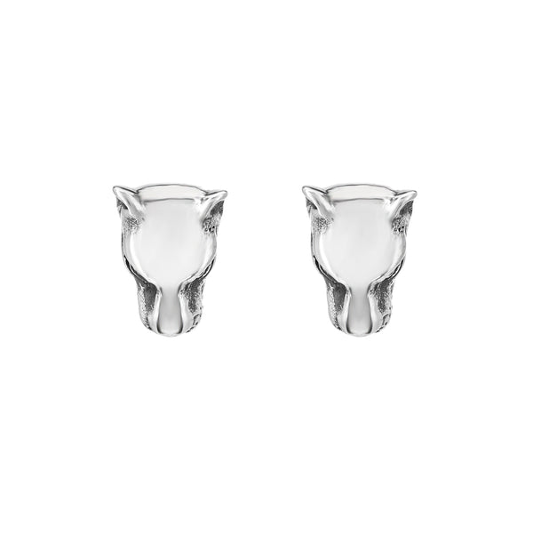 Silver Lioness Head Stud Earrings