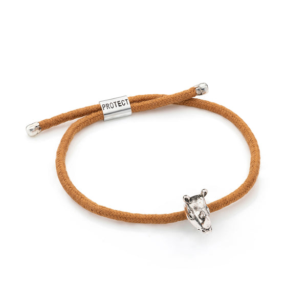 Brown Eco-Friendly Rhinoceros Charm Bracelet