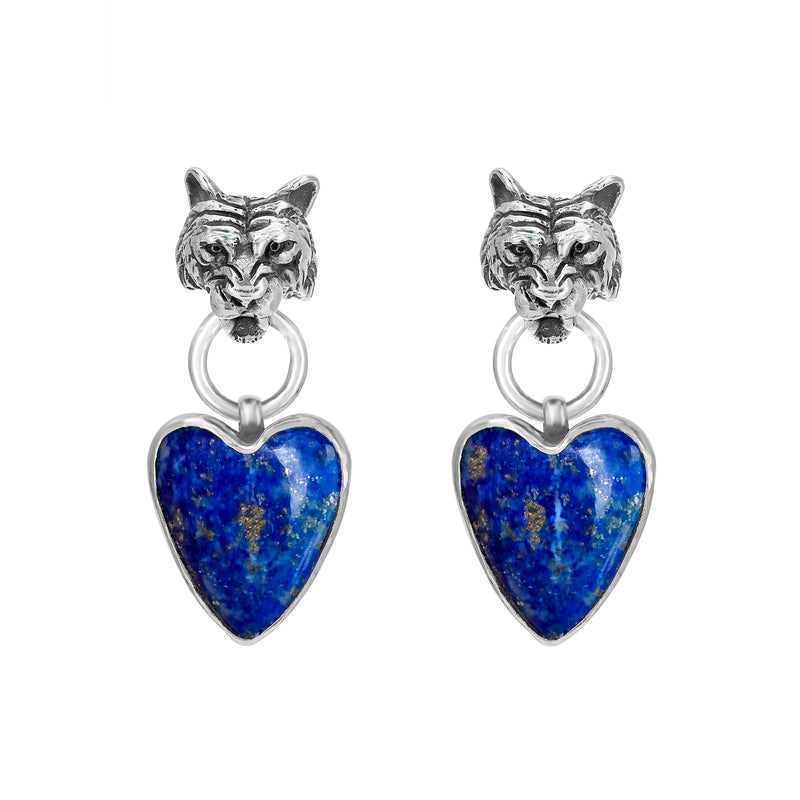 SILVER TIGER EARRING WITH LAPIZ HEART