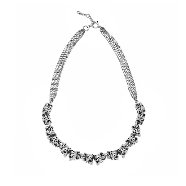 SILVER LEOPARD CHOKER NECKLACE WITH CHAINS