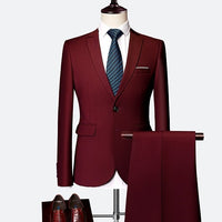 Suit Male 3 Piece Set Business Men's Suits Blazers Large Size Boutique Suit Slim 2020 High-end Formal Fit Party Wedding Regular