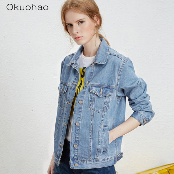 Solid Turn-down Collar Jean Jacket for Women Loose Casual Blue Fashionable Women Coats Female outwear Denim Feminine