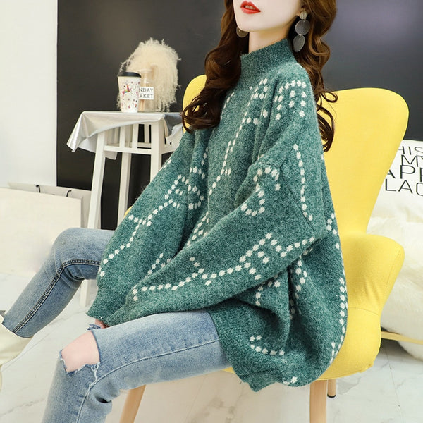Fashion Striped Loose Turtleneck Sweater Female Long Sleeve Large Size Stitching Lazy Sweater Pullover Women Autumn Winter