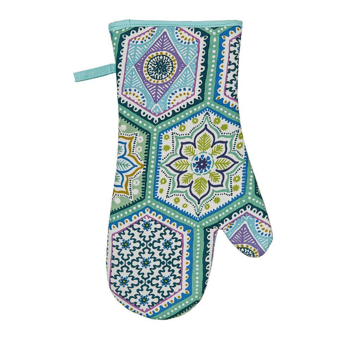 Ulster Weavers Luxury 100% Cotton Single Oven Glove (Gauntlet) - Lisbon Tiles