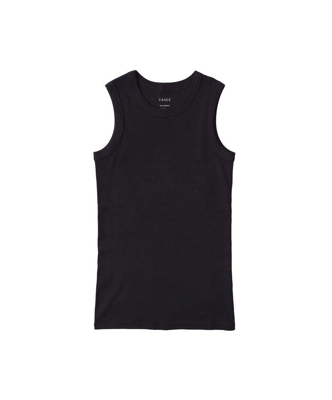 CANOÉ Ultimate Pima Organic Cotton TIGHT FIT TANK TOP : BLACK #CS0010b made-to-order only