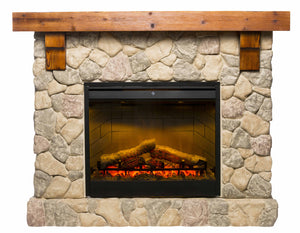 Fieldstone Mantle with LED Firebox