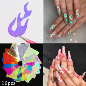 16pcs 3D Holographic Fire Flame Nail Vinyls Stickers Glitter Laser Flames Nail Art Foil Transfer Sticker Decal Decorations Set | broadway rd