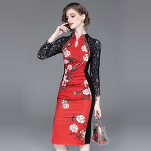 Load image into Gallery viewer, long sleeved lace dress stitching print slim dress step | broadway rd