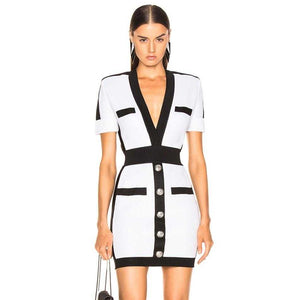 Deep V Short Sleeve Mini Bodycon Dress | broadway rd
