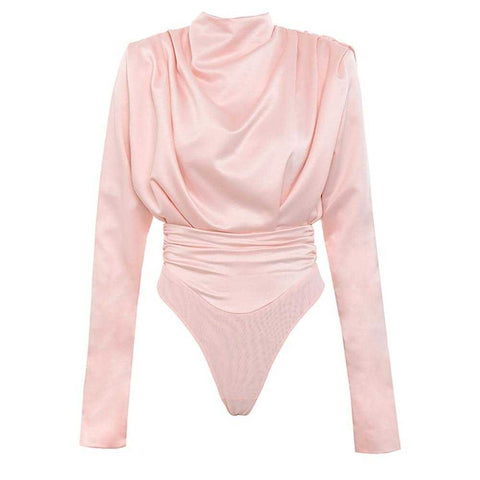 Satin Pink Blouse Long Sleeve Bodysuits | broadway rd