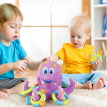 Load image into Gallery viewer, Floating Purple Octopus with 3 Hoopla Rings Interactive Bath Toy | broadway rd