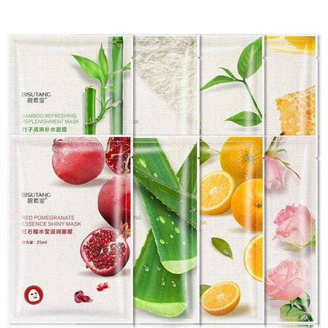 Fresh Orange Aloe Rice Pomegranate Bamboo Rose Green Tea Honey Moisturizing Water Mask | broadway rd