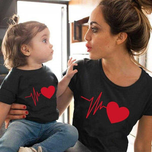 Love Heartbeat family matching clothes baby girl clothes Outfits Mother And Daughter | broadway rd