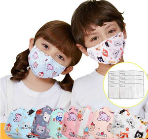 Child Maske Cute Print Cartoon Face Maskswashable Activated Carbon Insert Filter Respirator | broadway rd
