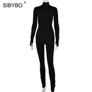 Spring Turtleneck Skinny Casual Jumpsuit
