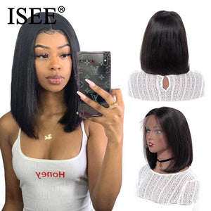 Straight Short Human Hair Wigs 360 Lace Frontal Wig Straight Bob Lace Front Wigs ISEE HAIR Malaysian Lace Front Human Hair Wigs | broadway rd
