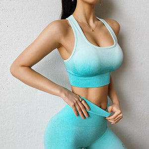 Yushuhua New Ombre Yoga Set Sports Bra Leggings Women Gym Set Clothes Seamless Workout Fitness Sportswear Fitness Sports Suit | broadway rd