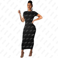 Load image into Gallery viewer, street casual style long dresses short sleeve