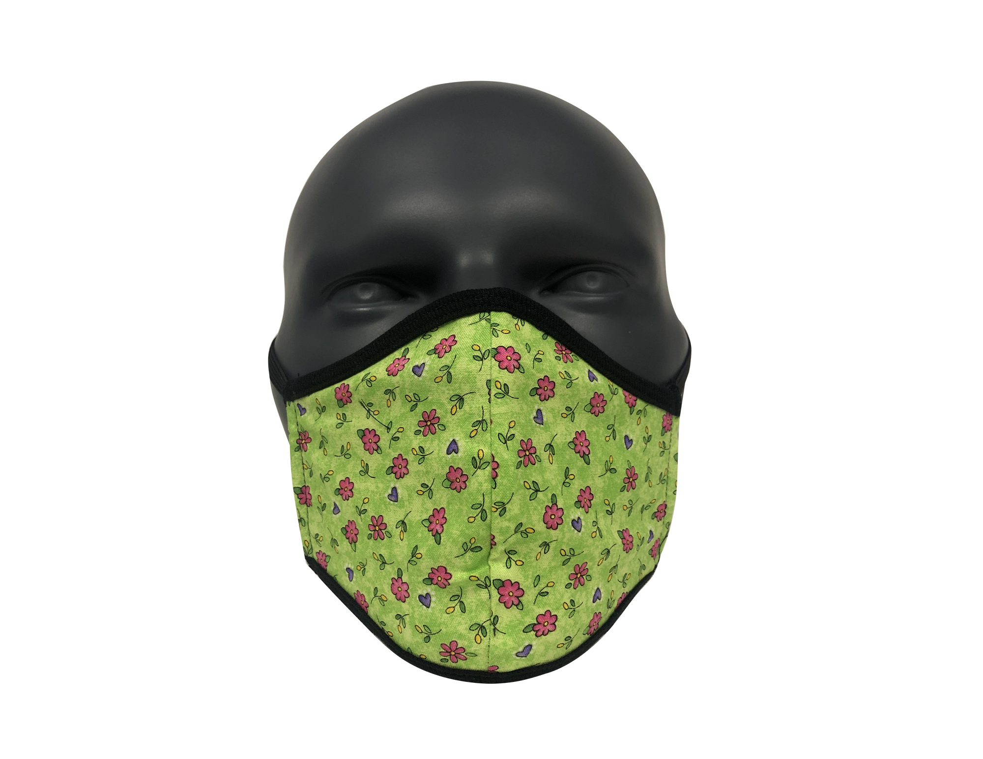 Green & Pink Flower face mask