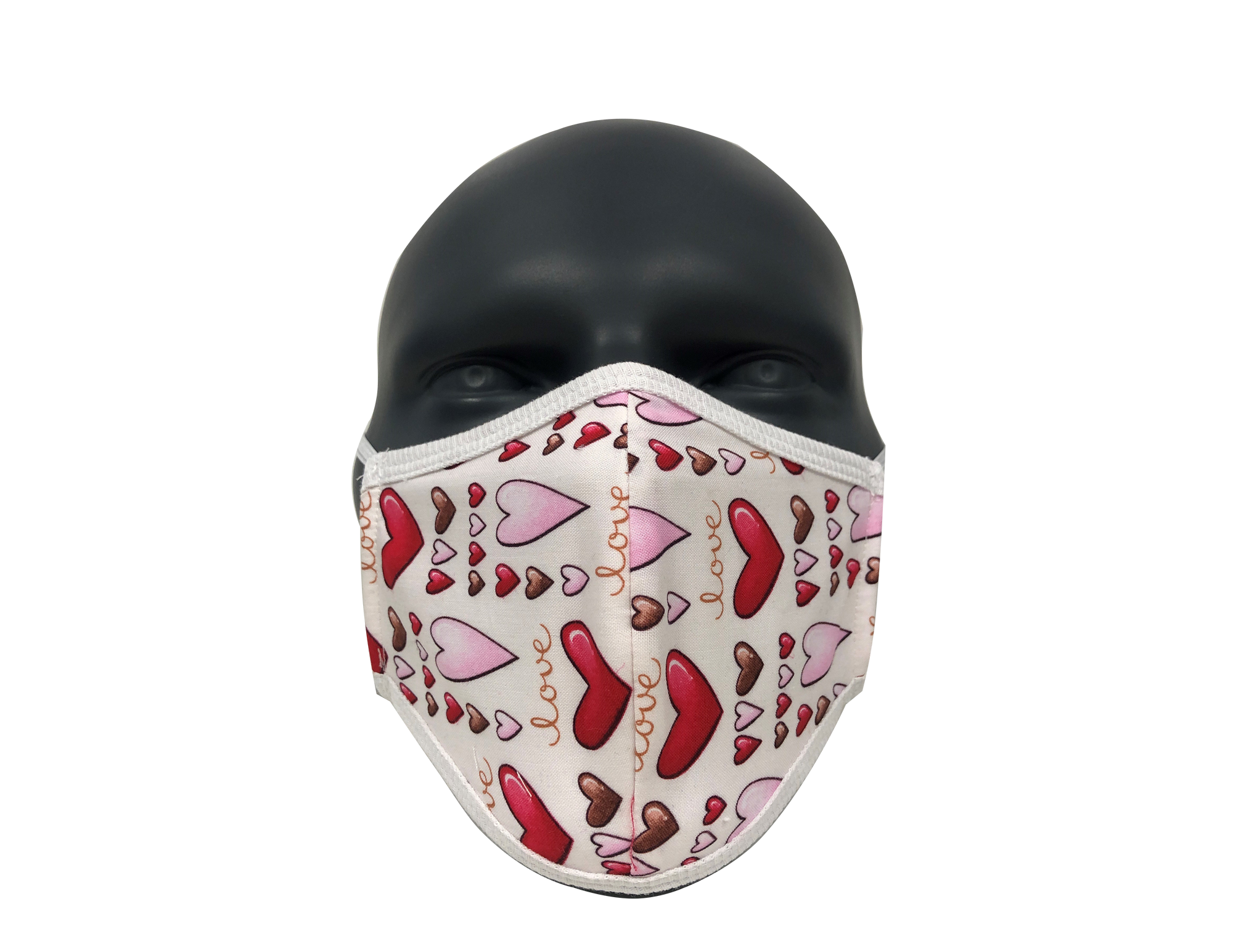 Hearts White face mask (kids size)