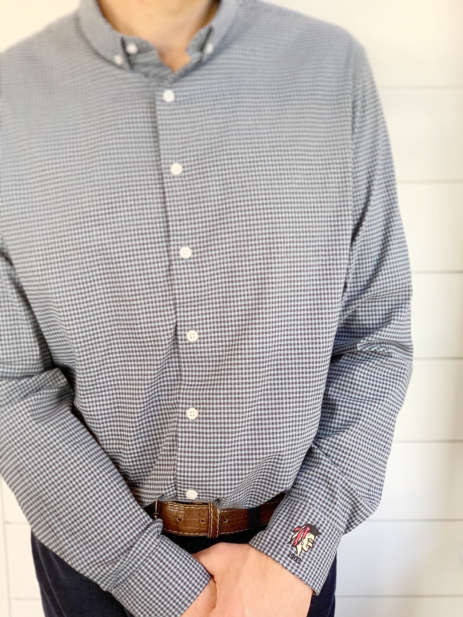 Button Down Gingham Print Dress Shirt by TASC