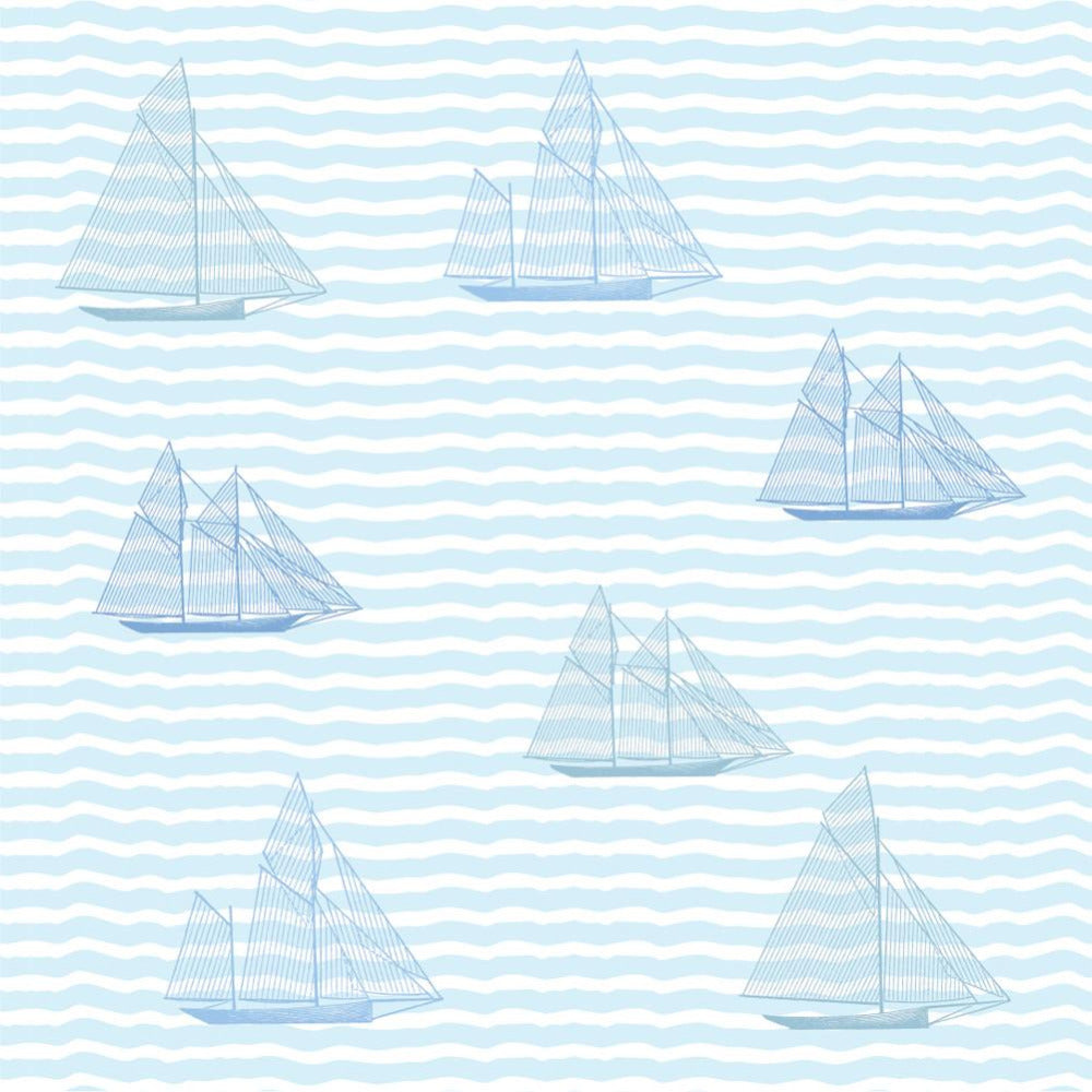 Wall Tile Sailboats in Blue