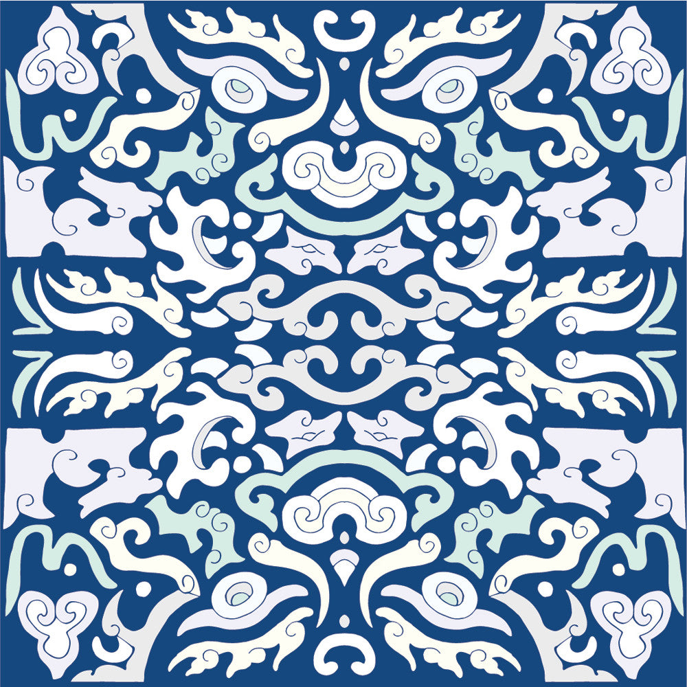 Wall Tile Foo You Looking At in Sea Blue