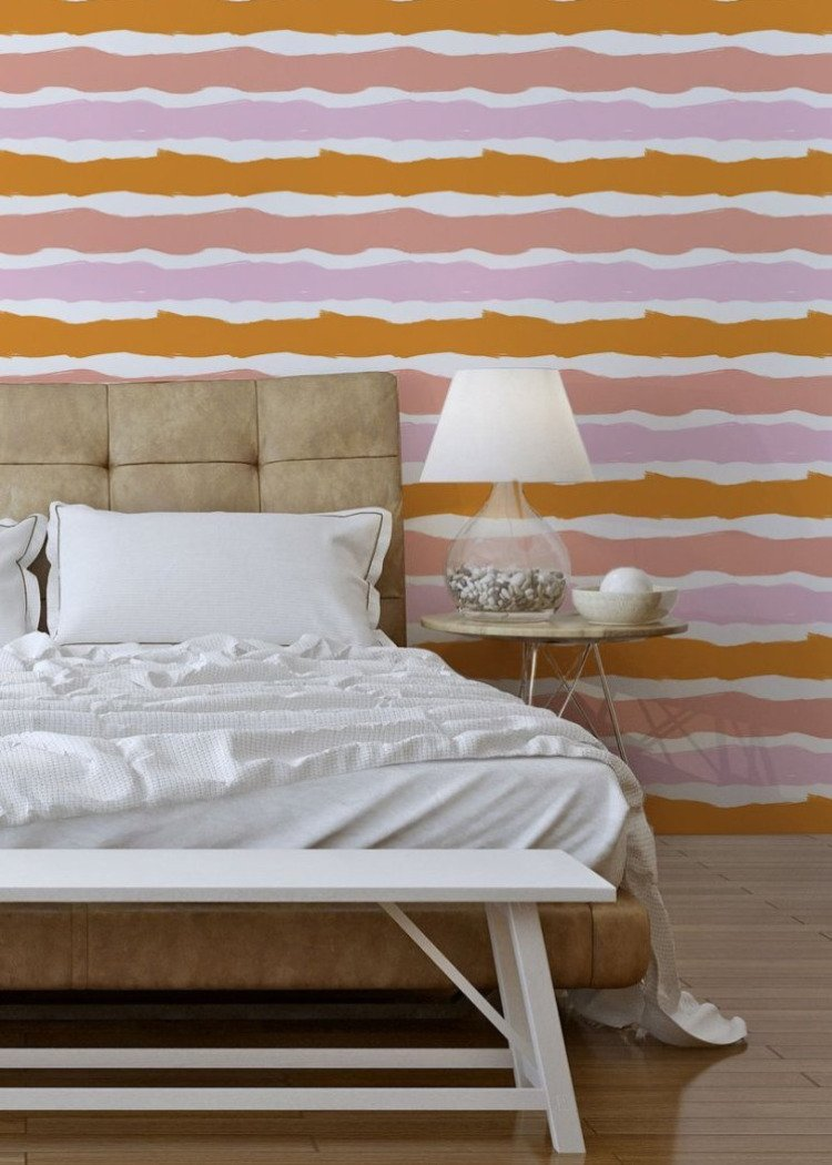 Las Rayas - Coral Wallpaper  - The Blush Label