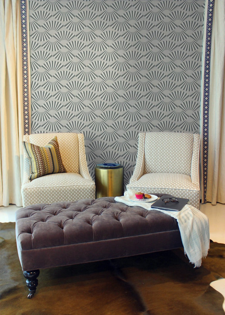 Fanning Out - Charcoal Wallpaper - JULIANNE TAYLOR STYLE