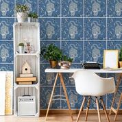 Wall Tile Stalking Tiger in Sky Blue