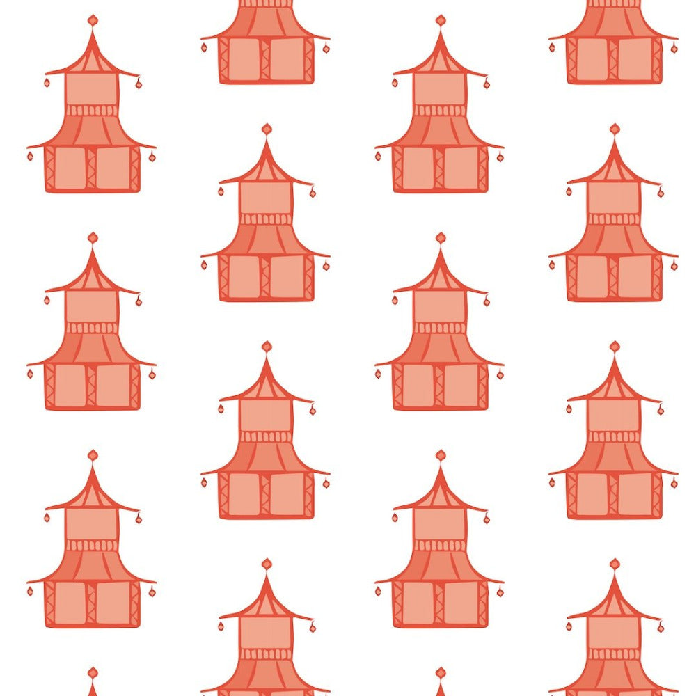 Pagoda - Coral Wallpaper - Bohemian Bungalow Collection