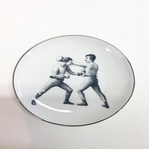 """BOXERS - LEFT CROSS"" - SET of 4 GIFT PLATES"