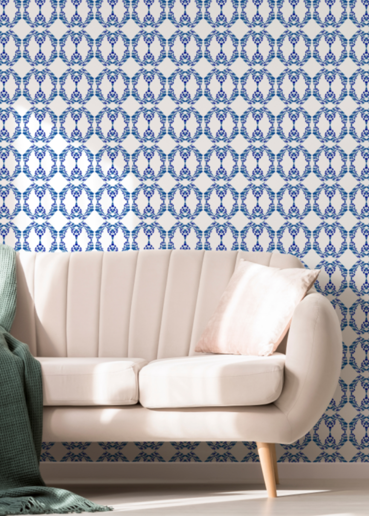 Beverly Link Navy Wallpaper - The Blush Label
