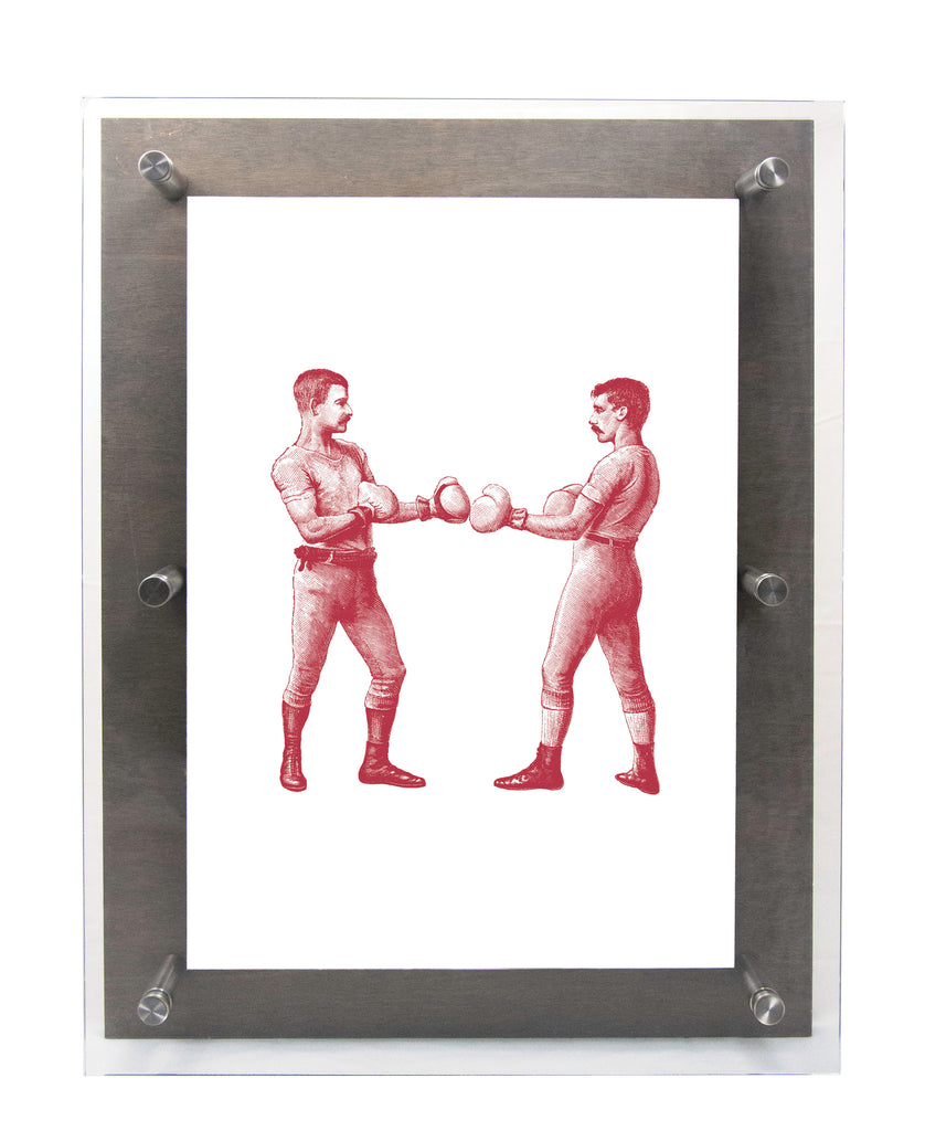 BOXERS - ON GUARD in Cranberry - Wood & Acrylic Frame
