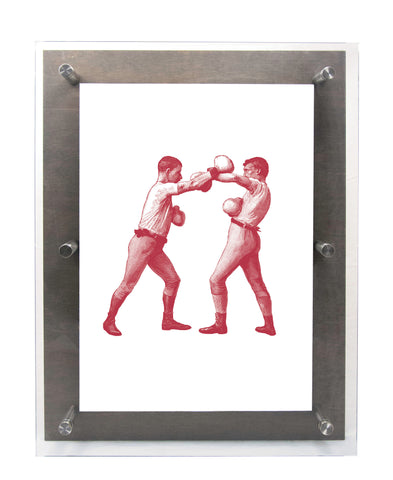 BOXERS - LEFT GUARD in Scarlet - Wood & Acrylic Frame