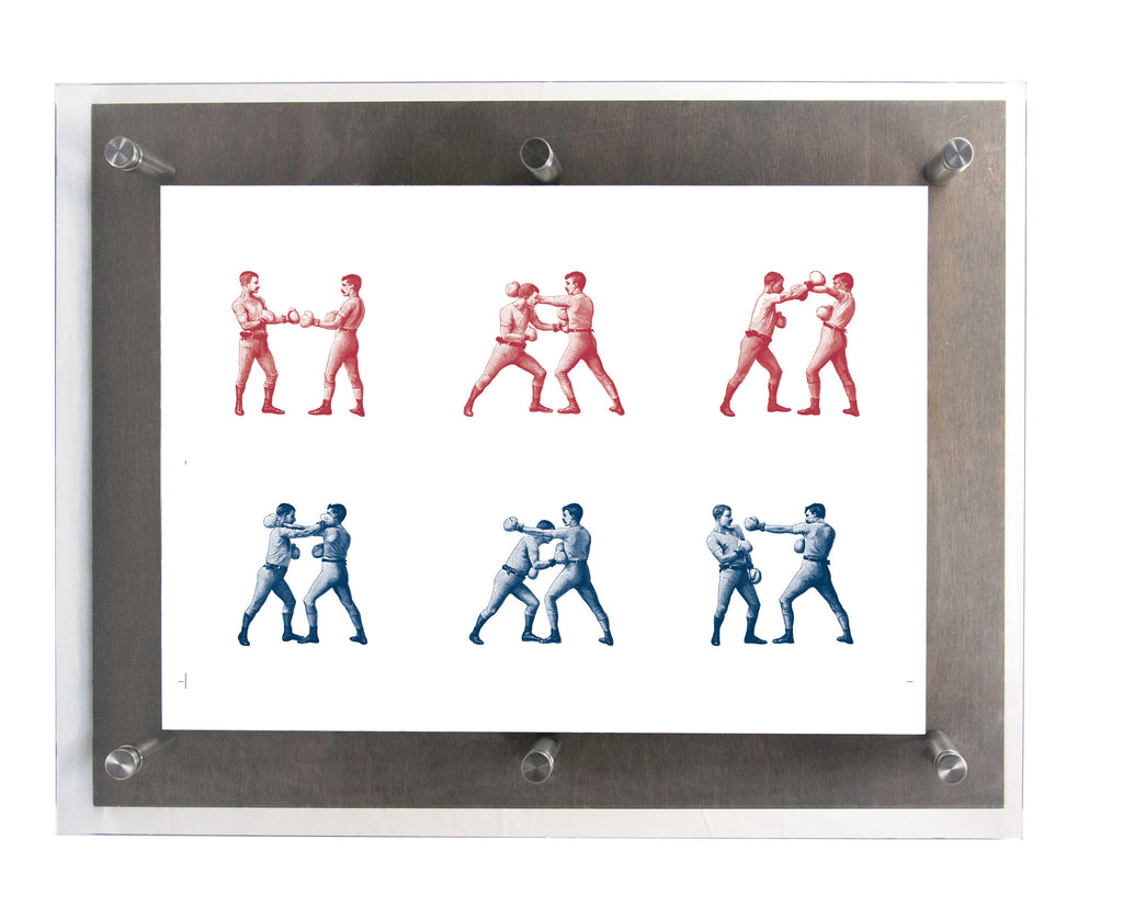 BOXING SERIES in Scarlet & Midnight- Wood & Acrylic Frame