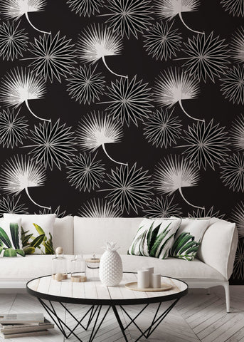 Cabbage Palm in Black Wallpaper - Bohemian Bungalow Collection
