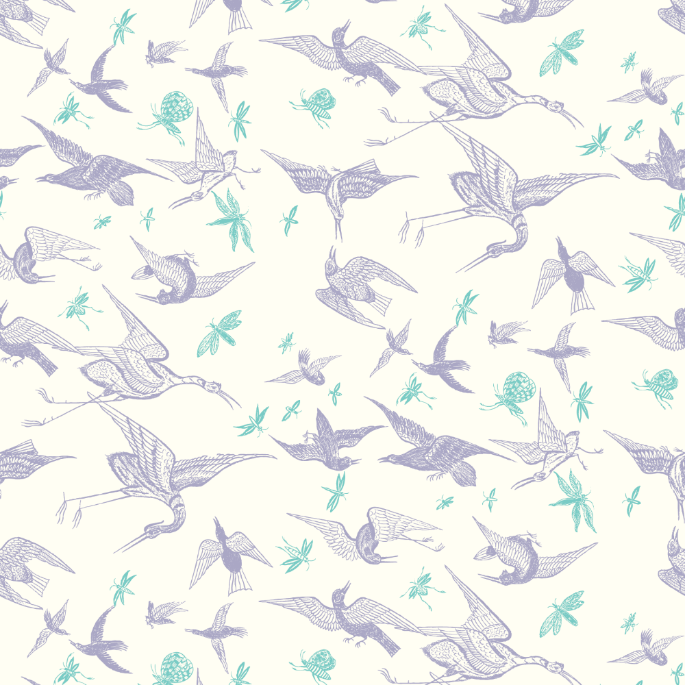 Chasing Birds Wallpaper - Lavender on Warm White Wallpaper - Nomad Collection