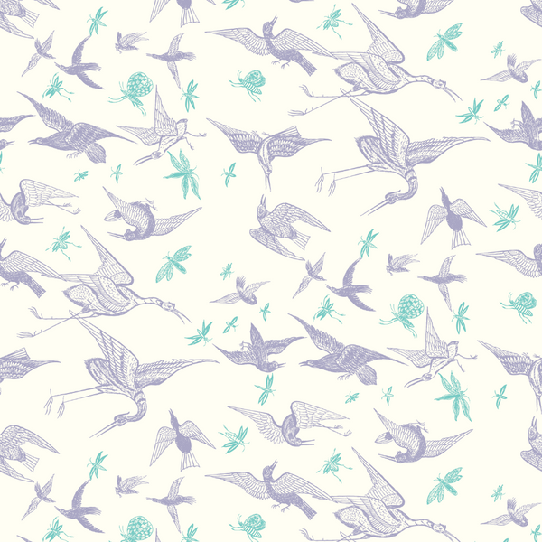 Chasing Birds - Lavender on Warm White