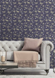 Chasing Birds - Plum Wallpaper - Nomad Collection