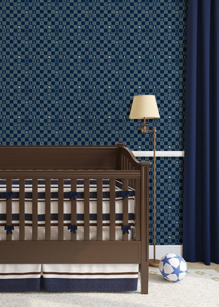 """CHESS"" in Navy REMOVABLE WALLCOVERING"