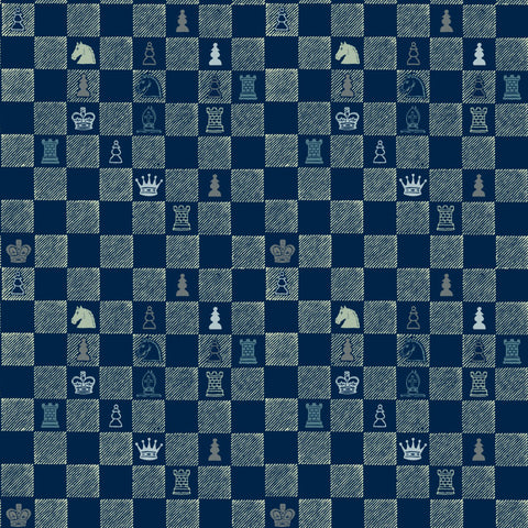 Chess - Navy Wallpaper - MB BABY