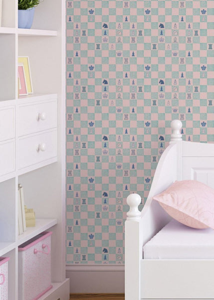 """CHESS"" in Pink/Teal REMOVABLE WALLCOVERING"
