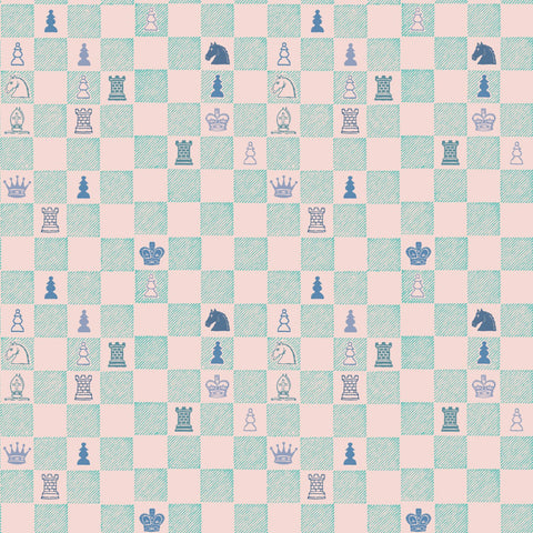 Chess Wallpaper - Pink/Teal - MB BABY