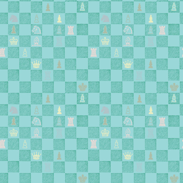 """CHESS"" in Teal REMOVABLE WALLCOVERING"