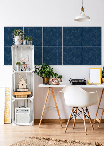 Wall Tile Chevron in Navy Blue